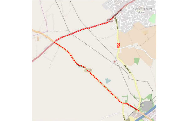 Map showing diversion route - Hinckley Road - Desford Road